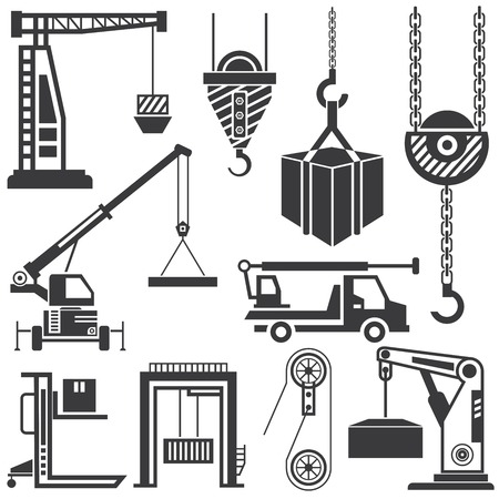machinery: clifting machinery vector, crane icons Illustration