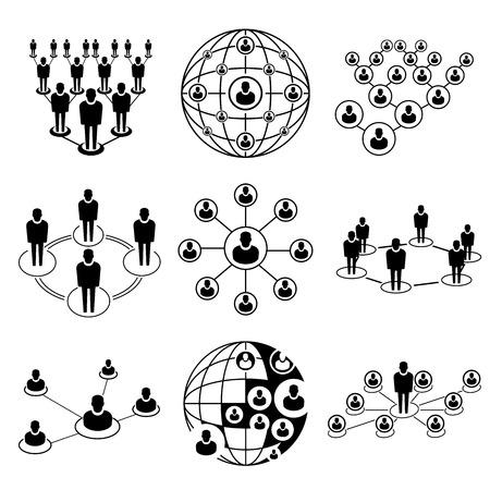 redes de mercadeo: conexión de la gente, iconos de la red Vectores