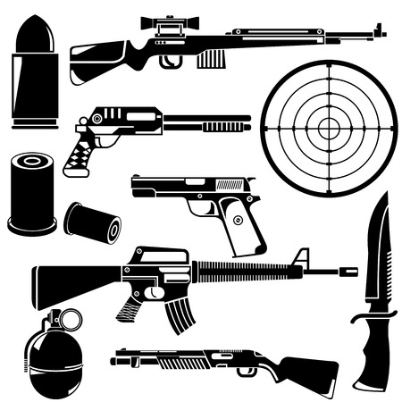 gun and weapon Ilustrace