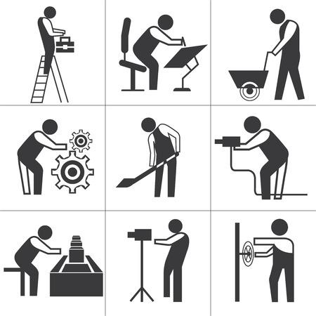 Iconos de los trabajadores industriales Foto de archivo - 32903178