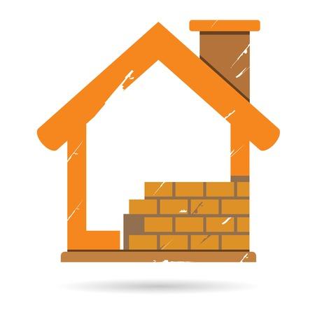 housebuilding: construction house Illustration
