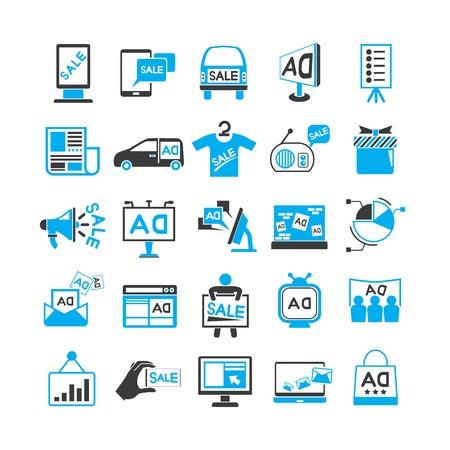 advertising icons, marketing promotion icons Illustration