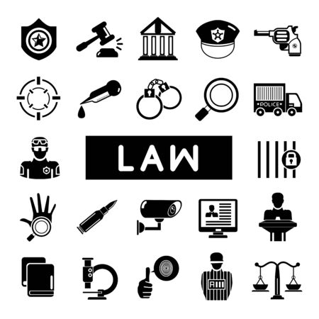 gavel: law and justice icons Illustration