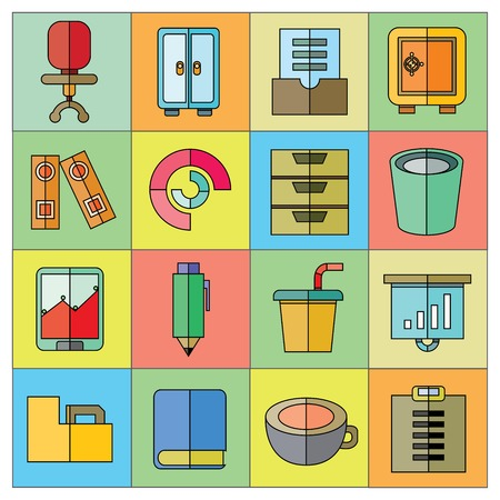 writing chair: business and office icons Illustration