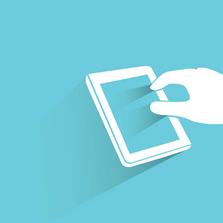 hand touching tablet on blue Vector