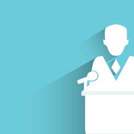 예행 연습: commencement speech figure on blue 일러스트