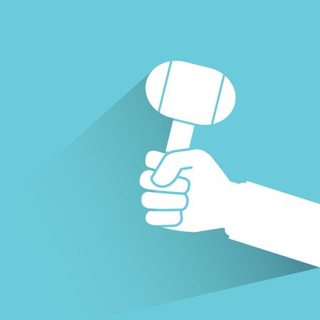 lump: hand holding lump hammer