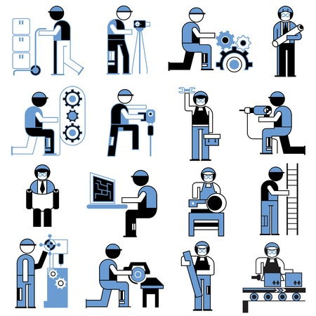 service people icons, working people in industry situations Illustration