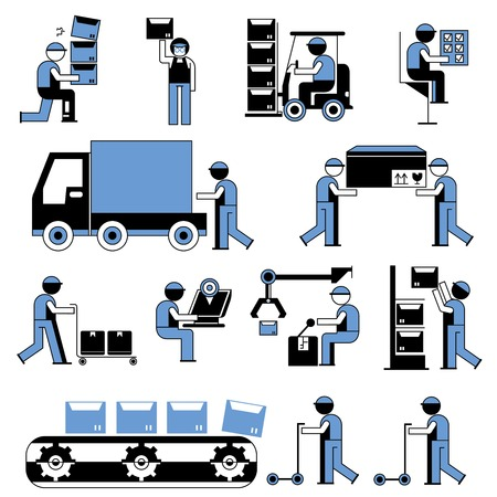 loading truck: working people in factory, cargo and shipping Illustration