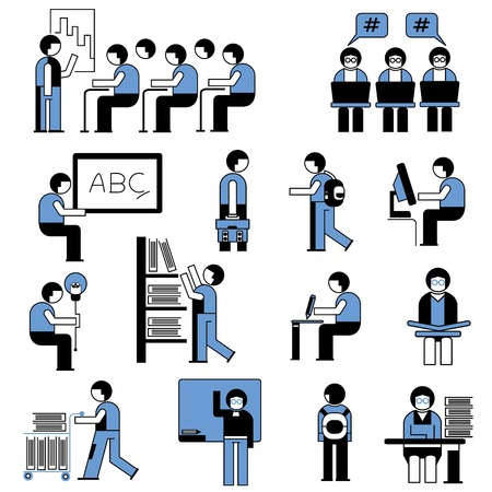 student in lecture room Vector