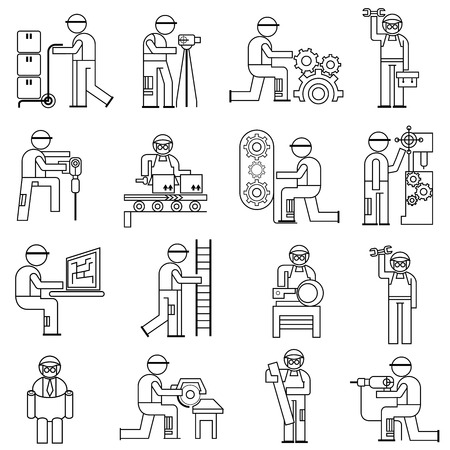situations: working people in industry situations Illustration