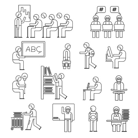 collegian: student icons Illustration