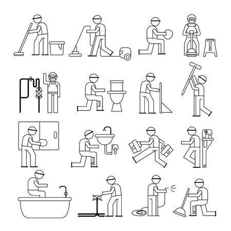 plumbing service and cleaner worker Vector
