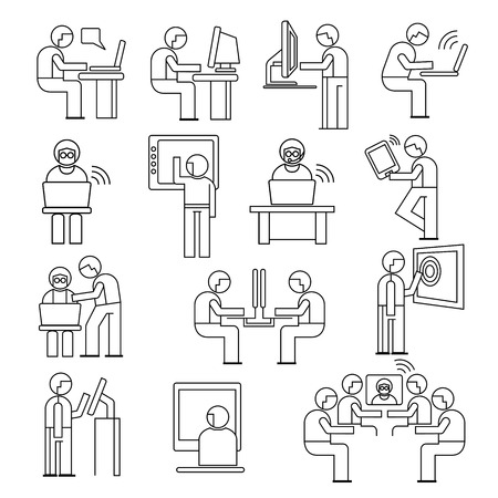 business people in office, people working on computer Vector