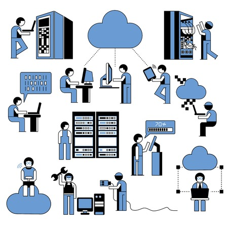datacenter: cloud computing icons, people in server room
