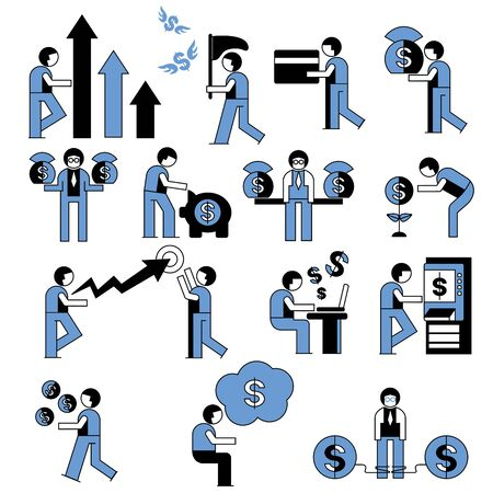 financial people, banking icons Vector