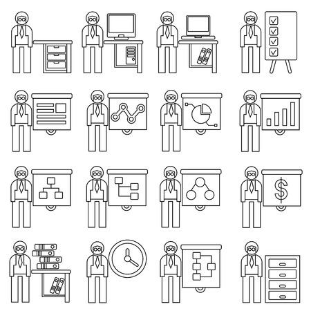 slide show: office people with presentation concept Illustration