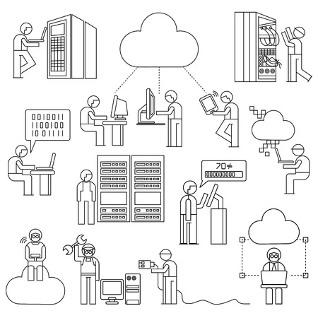 people with cloud computing concept, technician in server work station Vector