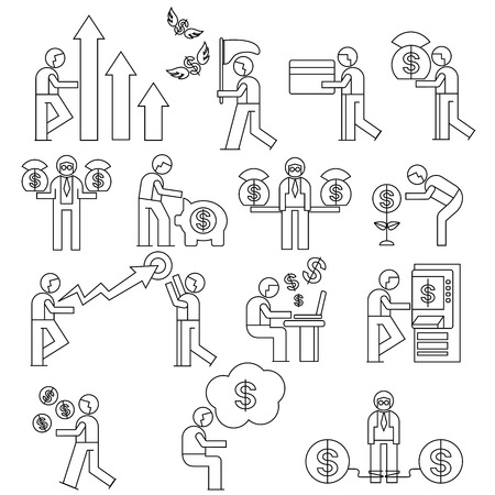 debt collection: financial people icons, people with money concept Illustration