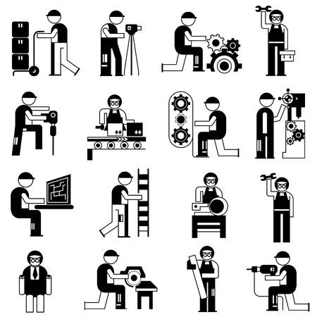 working people in industry situations set Vector