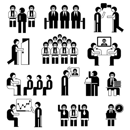 situation: business conference and business meeting people set Illustration