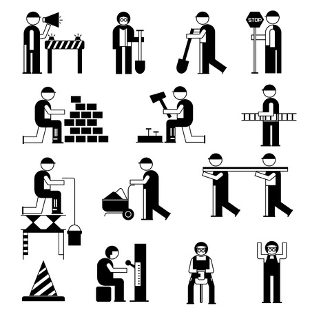 civil engineer: mechanic people set, working people in construction site