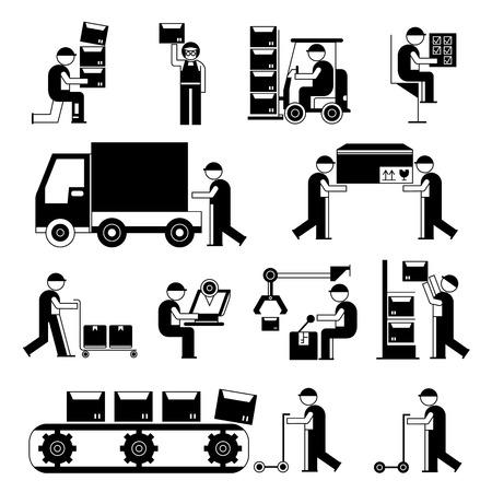 werknemer in de productielijn, werkende mensen in de fabriek