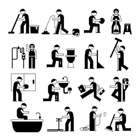 repair man: plumbing service and cleaner worker set