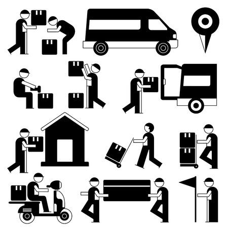 delivery service man set Illustration