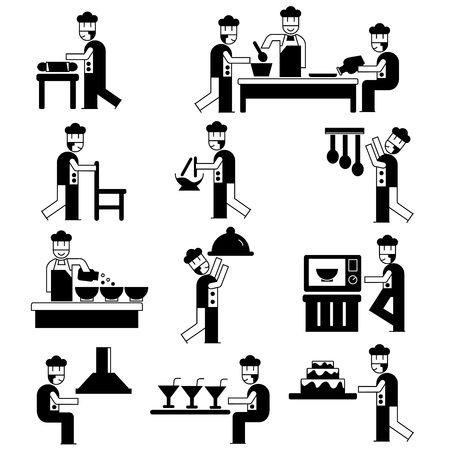 chef caricatura: conjunto chef de la cocina