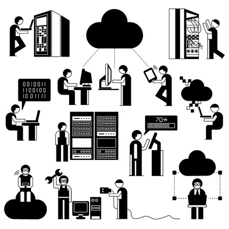 storage device: people with cloud computing concept, network technician in server room
