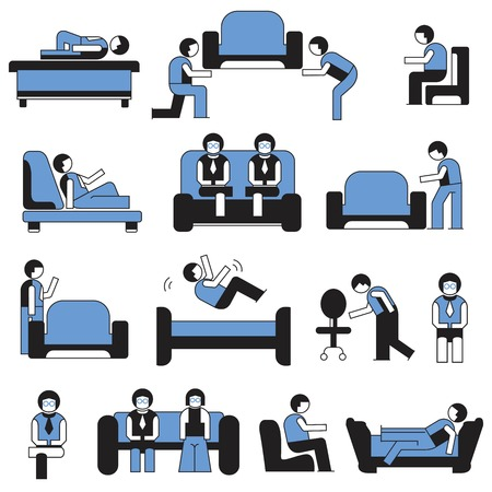 davenport: people with sofa and chair Illustration