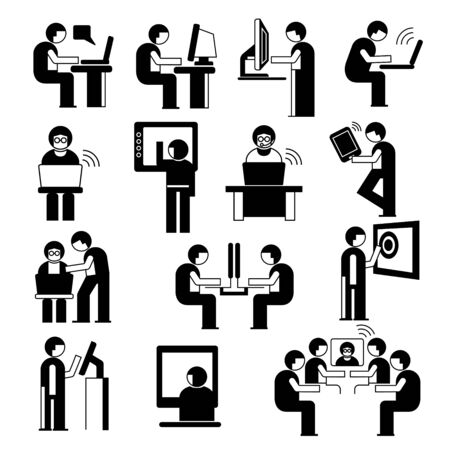 office people working on computer set Vector