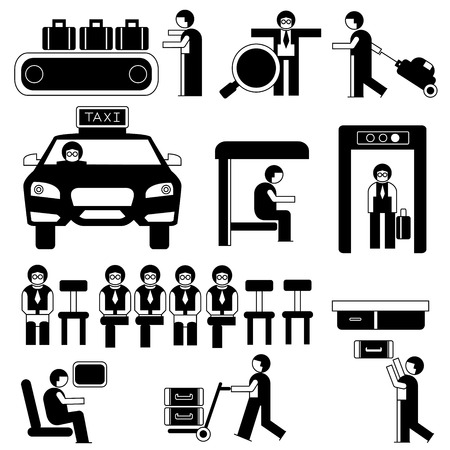 people in airport and public situations Vector