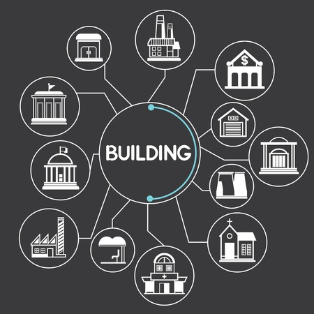 link building: real estate, building Illustration