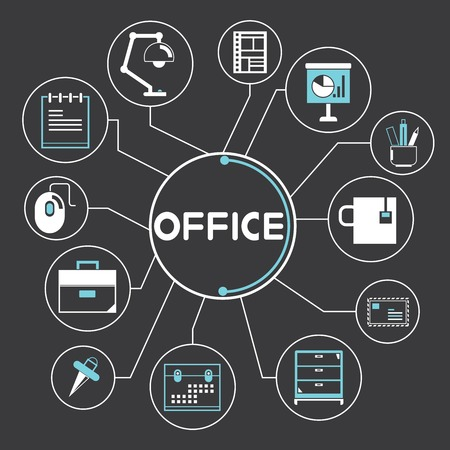 office supplies concept Ilustração