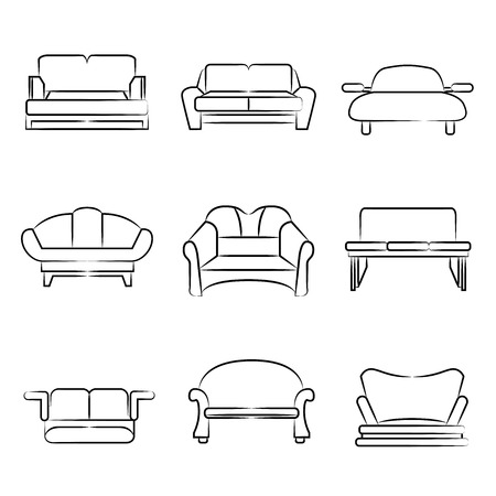 sketch sofa, chair icons Vector
