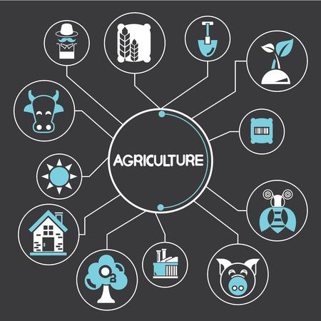 tillage: agriculture elements Illustration