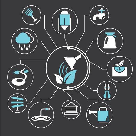 bucket of water: farm concept Illustration
