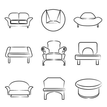 sofa, chair icons Vector
