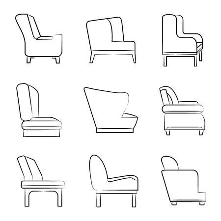 dibujos lineales: sofás y sillas iconos