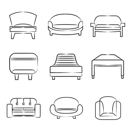 sofa and chair icons Vector