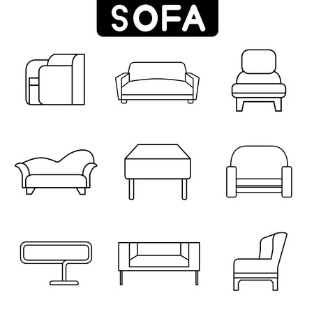 sofa icons, thin line theme Illustration