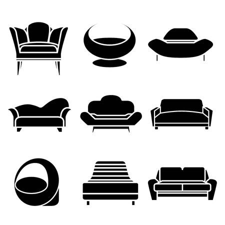 indoor garden: sofa icons Illustration