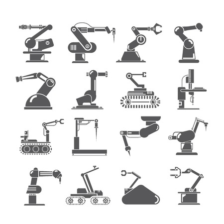 machine operator: industry robot icons Illustration