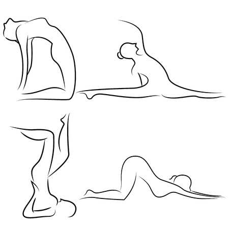 simple line drawing: yoga