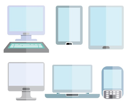 internet phone: computer, smart device icons, smart phone Illustration