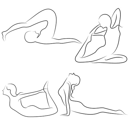 flexible woman: yoga posture Illustration