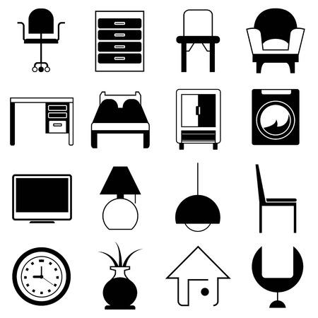 bedside: furniture icons Illustration