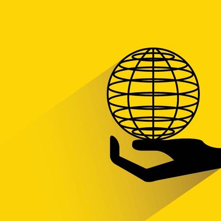 holding globe: hand holding globe